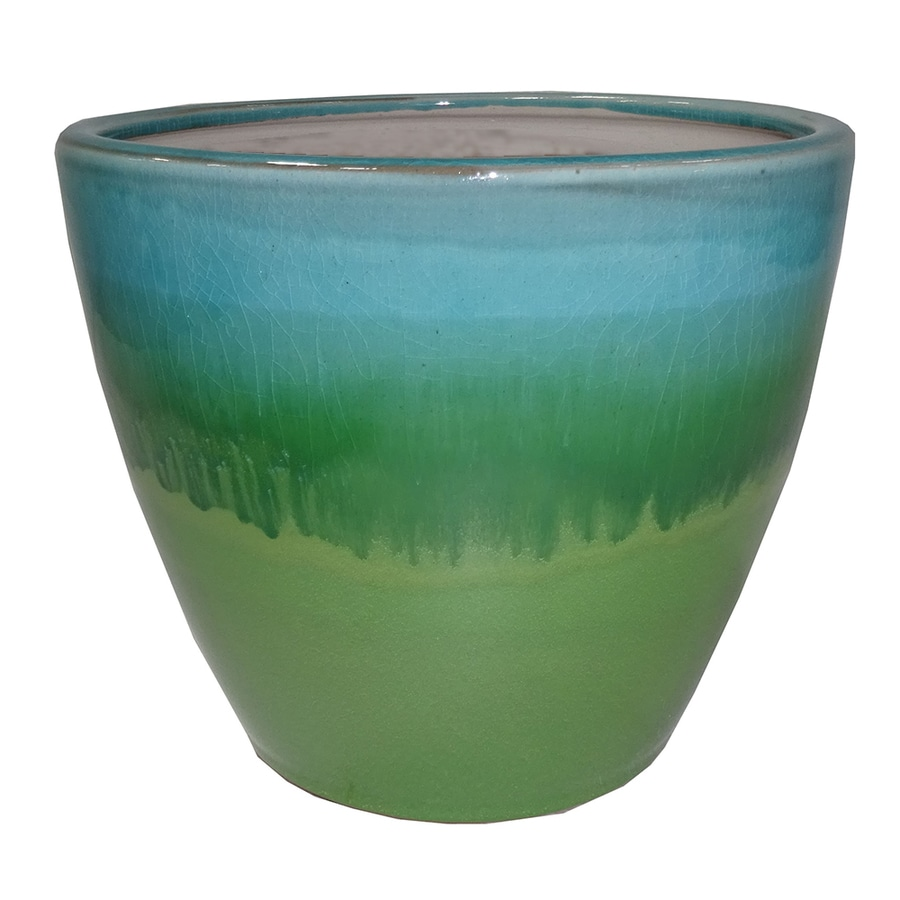 allen + roth 10.04-in x 9.65-in Green Aqua Ceramic Planter