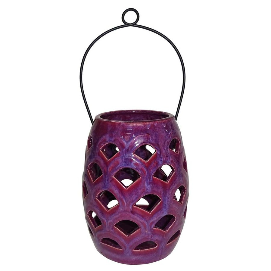 allen + roth 6.50-in x 8.07-in Purple Ceramic Tea Light Outdoor Decorative Lantern