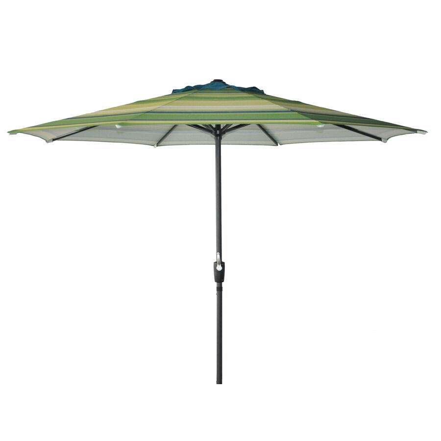 Garden Treasures Round Stripe Green Market Umbrella with Crank (Common: 105-in; Actual: 105-in)