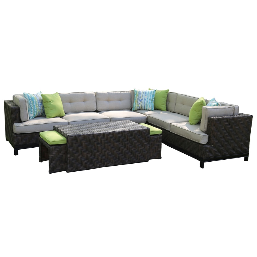 Shop ae outdoor canyon 7 piece resin patio conversation for Outdoor furniture 0 finance