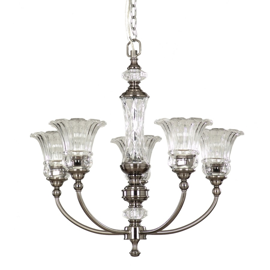 allen + roth Colfax 24-in 5-Light Polished Pewter Clear Glass Standard Chandelier