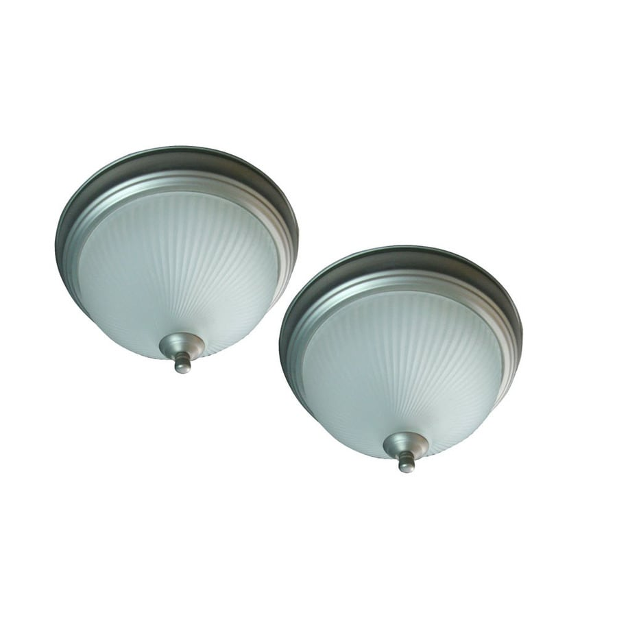 Project Source 2-Pack 11-in W Brushed Nickel Ceiling Flush Mount Light