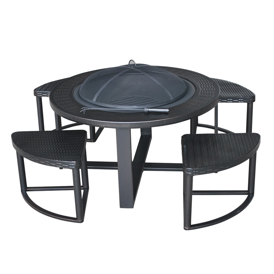 Ashford 42-in W Black/Gold Steel Wood-Burning Fire Pit