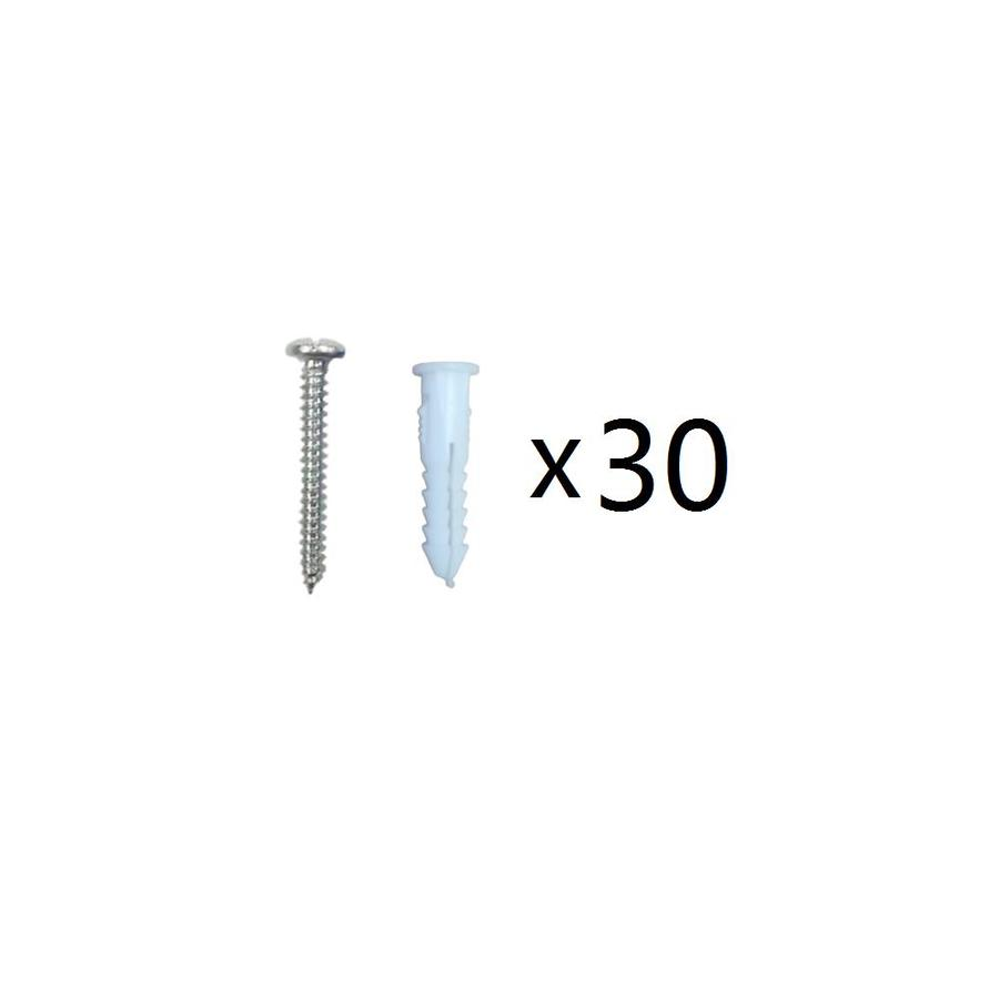 Blue Hawk 30-Pack 1.25-in x 164-in White Plastic Light-Duty All-Purpose Anchors with Screws