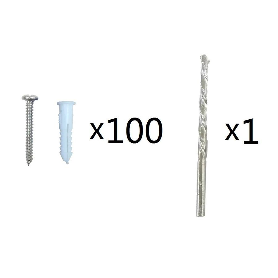 Blue Hawk 100-Pack 1.25-in x 0.164-in White Plastic Light-Duty All-Purpose Anchors with Screws