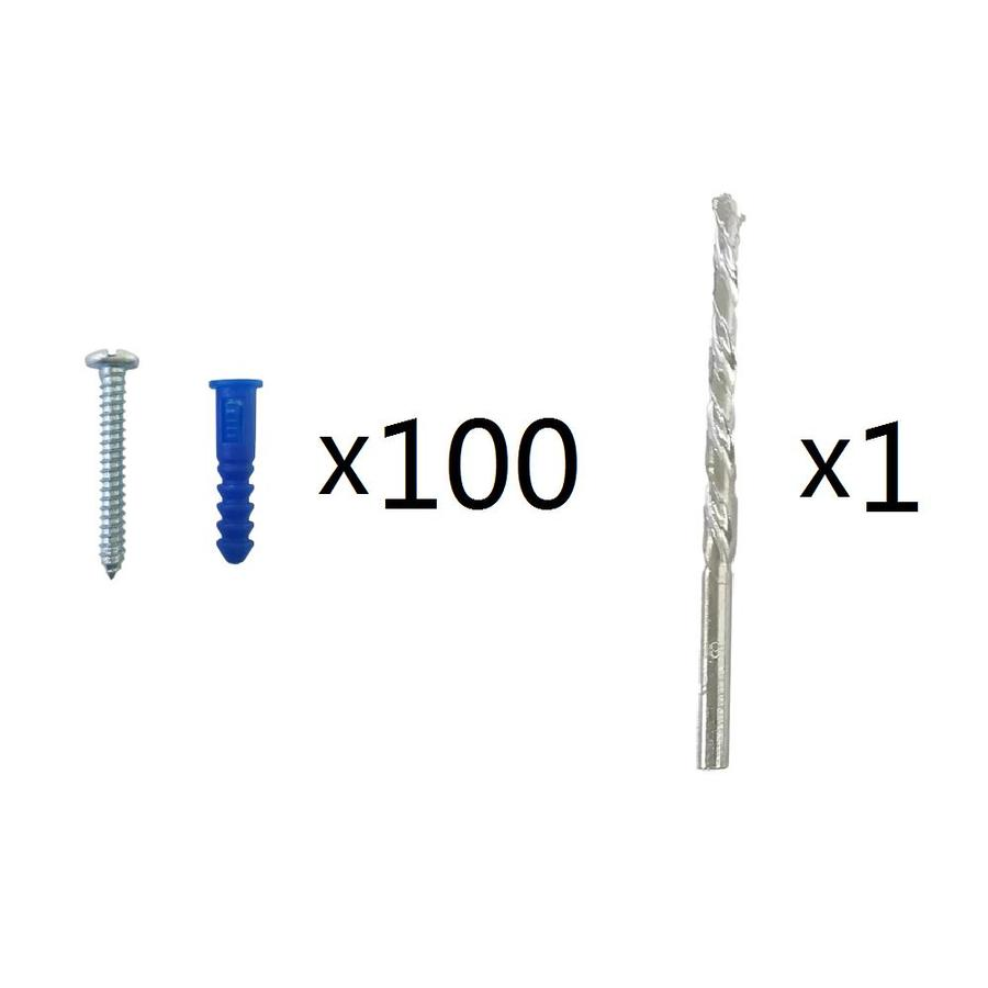 Blue Hawk 100-Pack 1.5-in x 0.19-in Blue Plastic Light-Duty All-Purpose Anchors with Screws