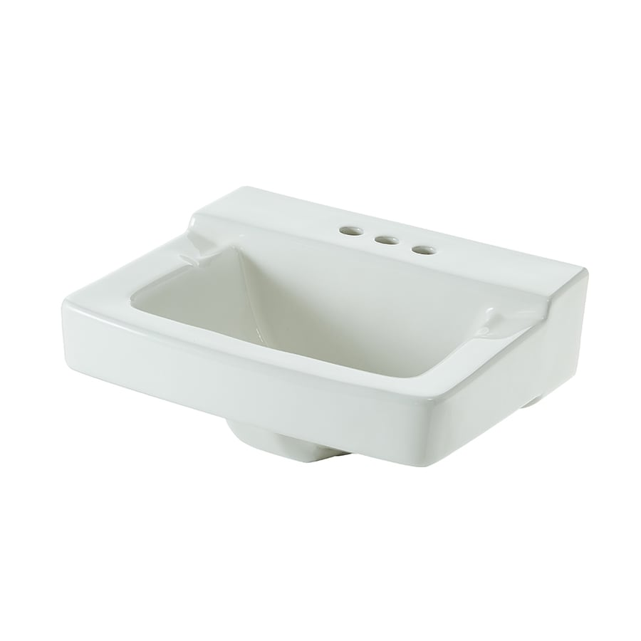 AquaSource White Wall-Mount Square Bathroom Sink with Overflow