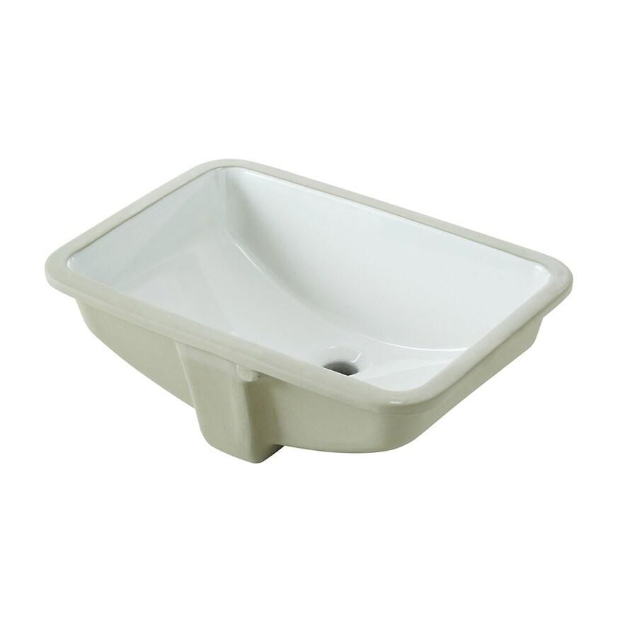 Shop Aquasource White Undermount Rectangular Bathroom Sink With Overflow At