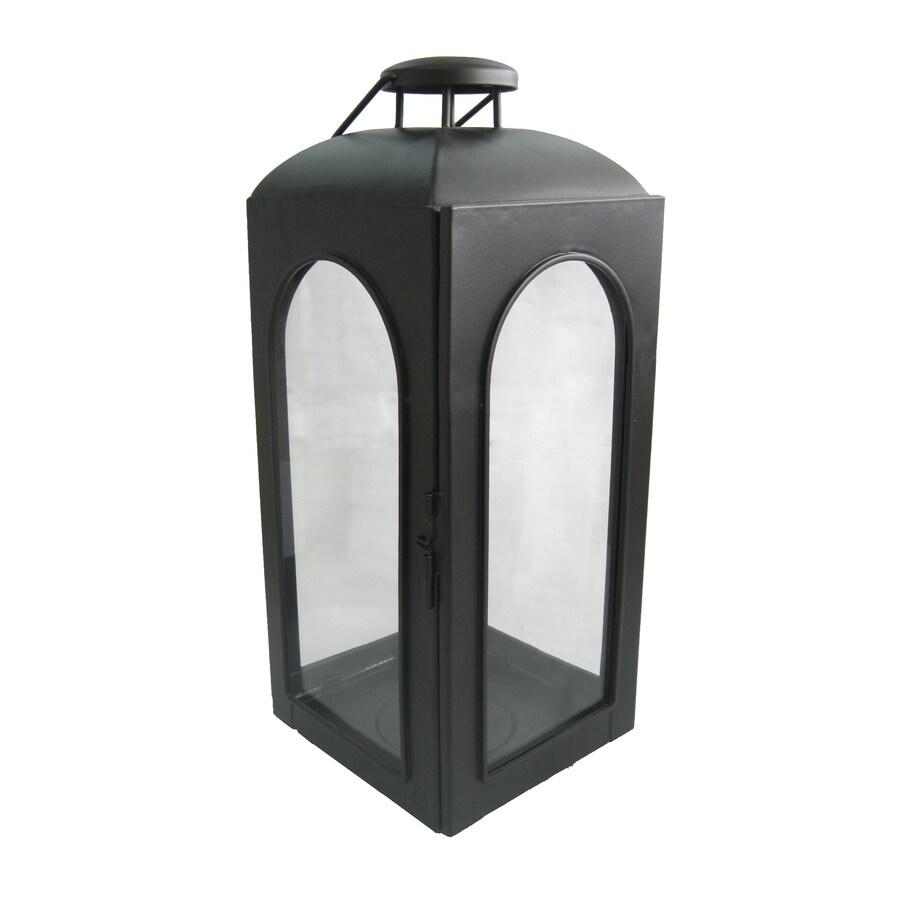 allen + roth 15.35-in Black Metal Pillar Candle Outdoor Decorative Lantern