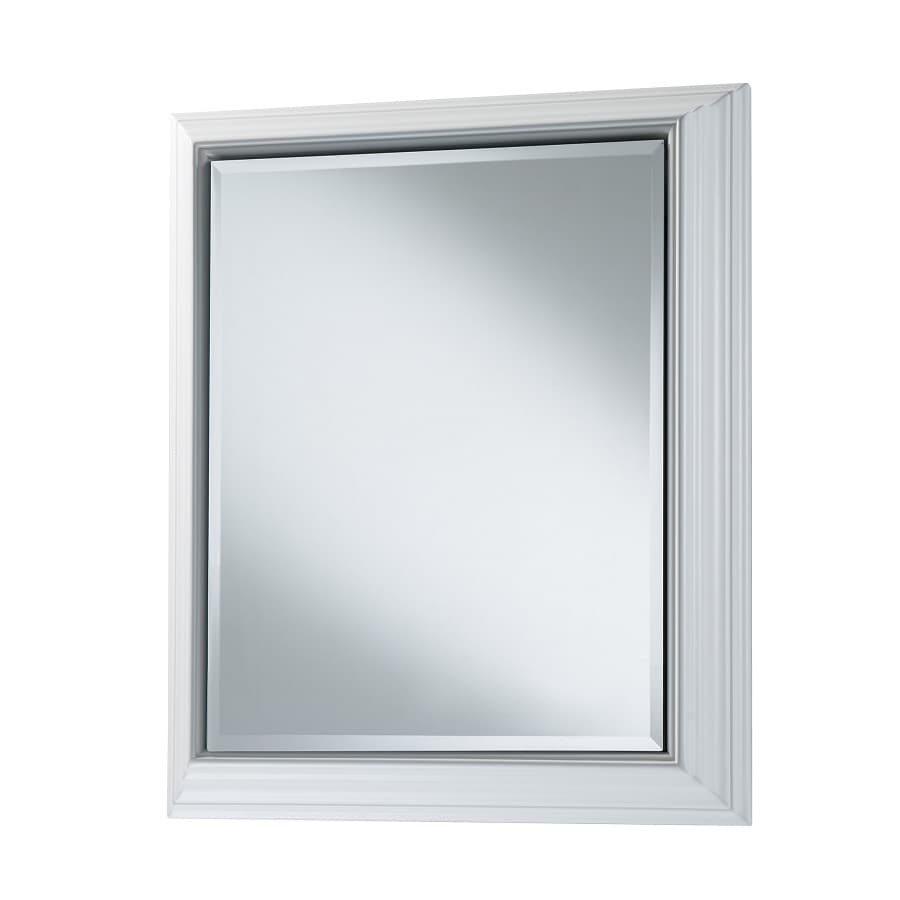 Style Selections 22.5-in x 27.5-in Rectangle Surface Mirrored Wood Medicine Cabinet