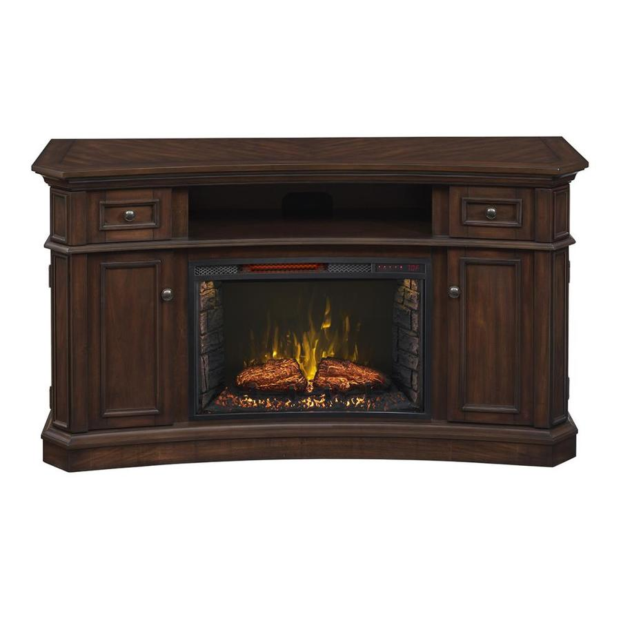 Shop SCOTT LIVING 60-in W 5,200-BTU Walnut Wood Infrared Quartz Electric Fireplace with ...