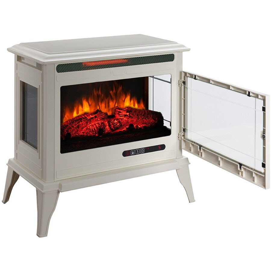 Mr. Heater 25-in W 5,200-BTU Creme Metal Flat Wall Infrared Quartz Electric Stove with Thermostat and Remote