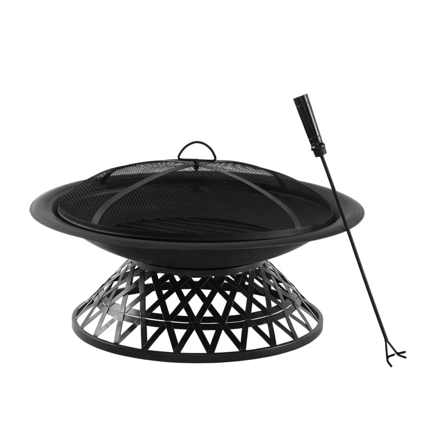 Garden Treasures 30-in W Matt Black Steel Wood-Burning Fire Pit