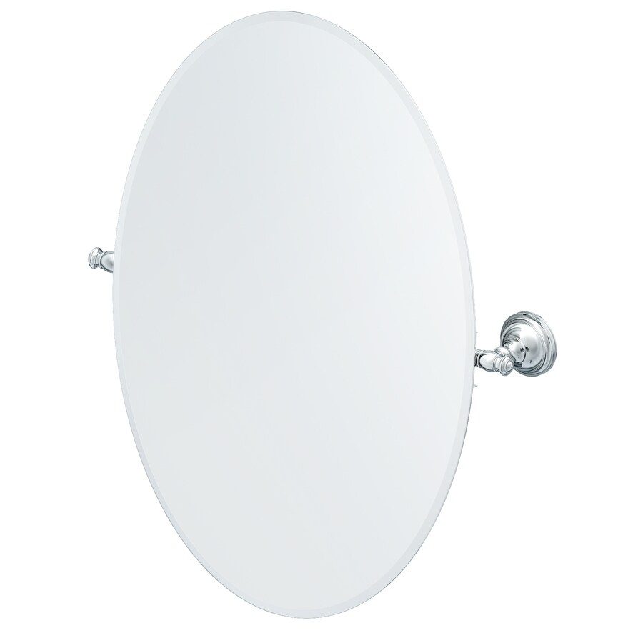 allen + roth Raleigh 3.4-in W x 26-in H Oval Tilting Frameless Bathroom Mirror with Polished Chrome Hardware and Beveled Edges