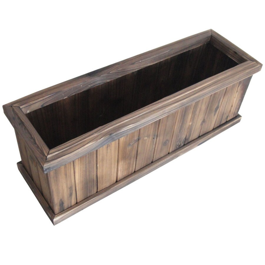 Garden Treasures 27.95-in x 9.84-in Brown Wood Traditional Window Box