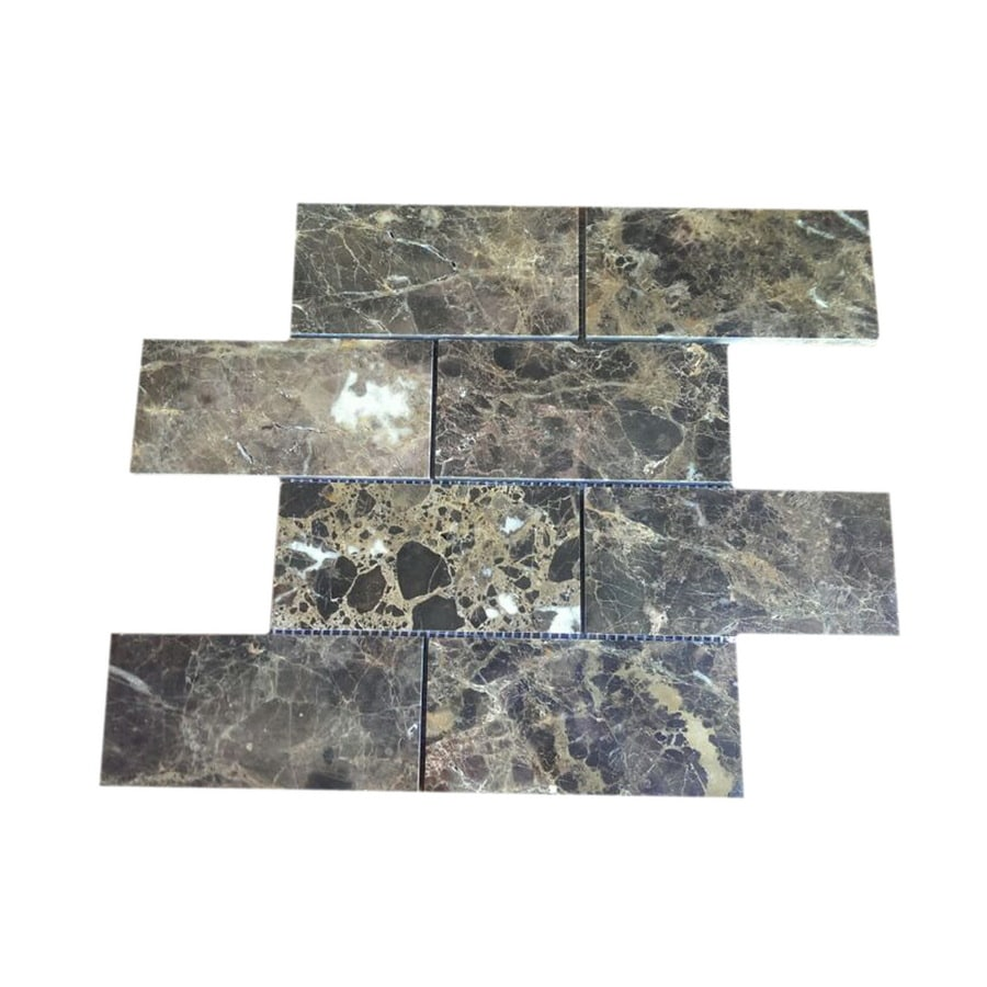 CCI Brown Marble with Polished Face Mosaic Natural Stone Wall Tile (Common: 12-in x 12-in; Actual: 11.69-in x 11.85-in)