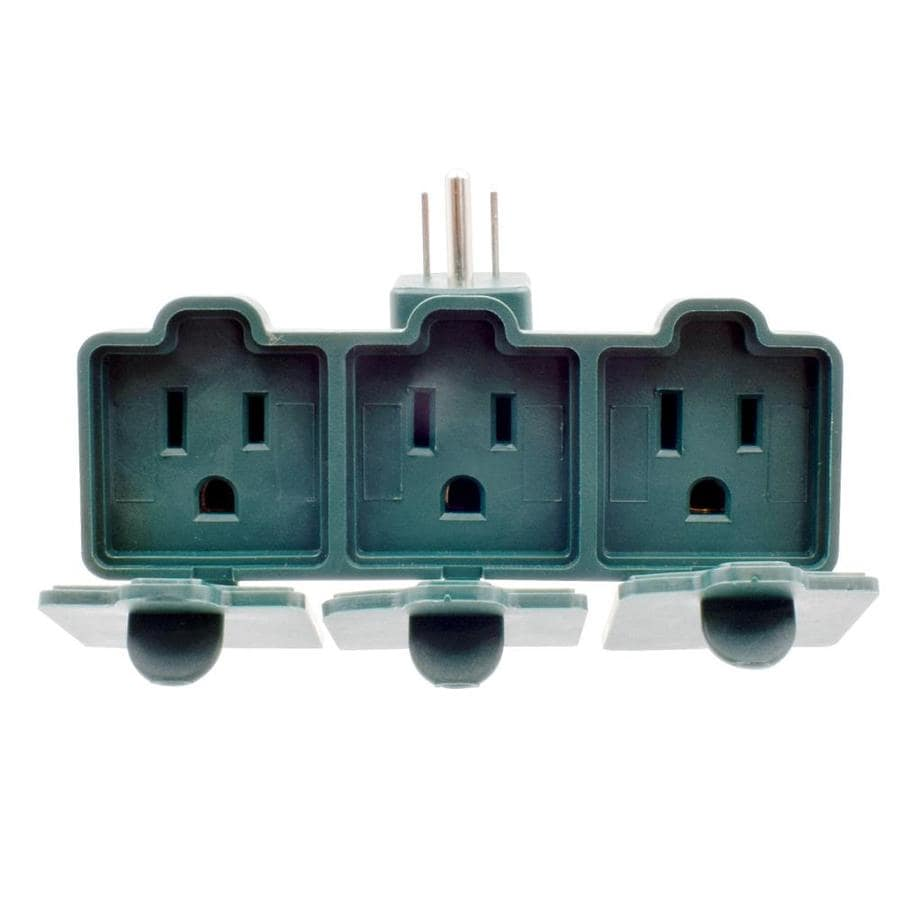 Project Source 15-Amp 3-Wire Grounding Single to Triple Green Basic Adapter