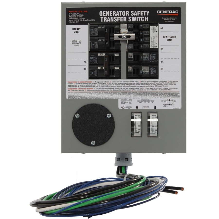 Generac 30-Amp Indoor 6-Circuit Transfer Switch
