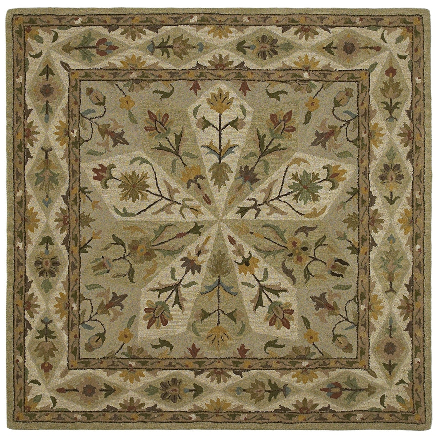 Kaleen Tara2-ft Square Green Floral Tufted Wool Area Rug (Common: 8-ft x 8-ft; Actual: 7.75-ft x 7.75-ft)