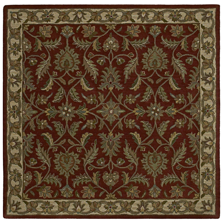 Kaleen Tara2-ft Square Red Floral Tufted Wool Area Rug (Common: 4-ft x 4-ft; Actual: 3.75-ft x 3.75-ft)