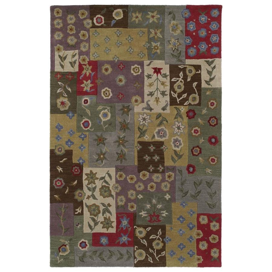 Kaleen Khazana Rectangular Green Floral Tufted Wool Area Rug (Common: 5-ft x 8-ft; Actual: 5-ft x 7.75-ft)