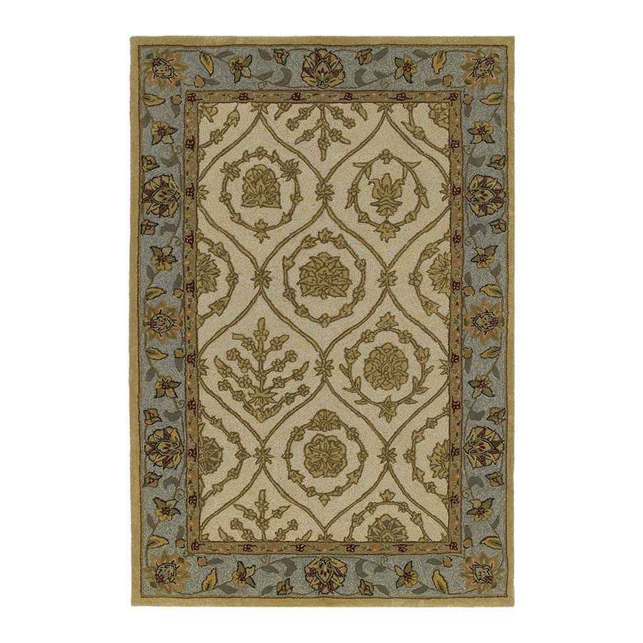 Kaleen Home and Porch 7-ft 9-in x 7-ft 9-in Round Cream Floral Indoor/Outdoor Area Rug