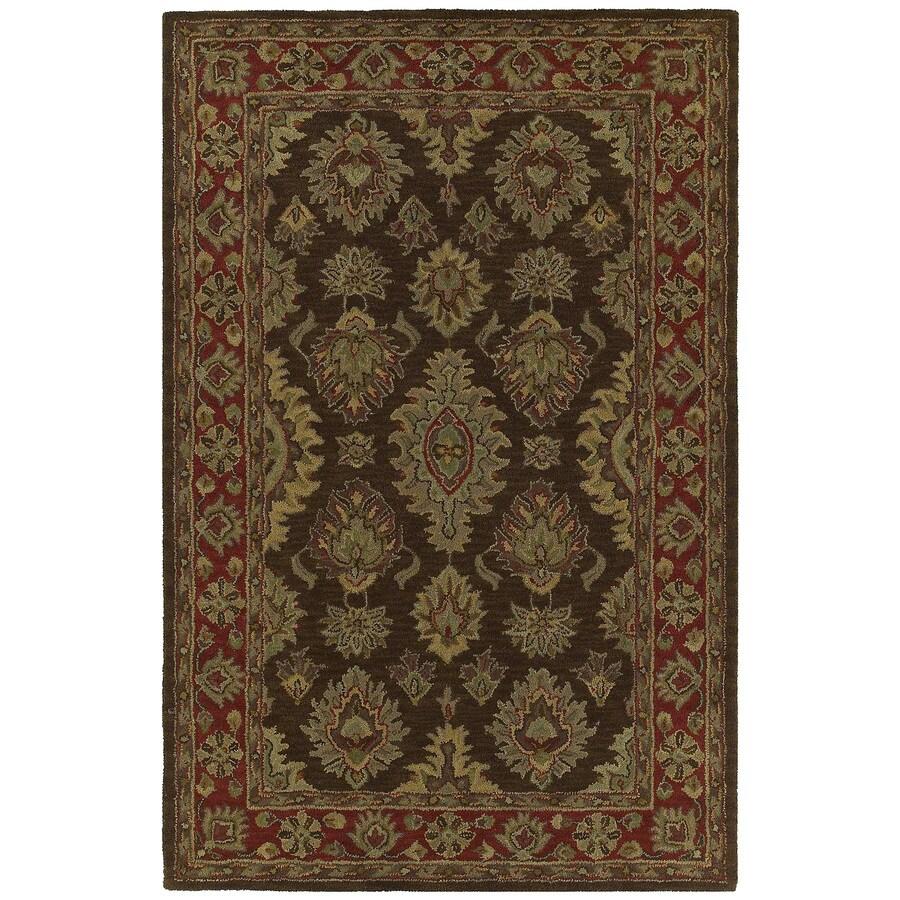 Kaleen Khazana Rectangular Brown Floral Tufted Wool Area Rug (Common: 5-ft x 8-ft; Actual: 5-ft x 7.75-ft)