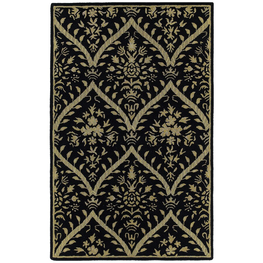 Kaleen Khazana Rectangular Black Floral Tufted Wool Area Rug (Common: 8-ft x 10-ft; Actual: 7.5-ft x 9-ft)