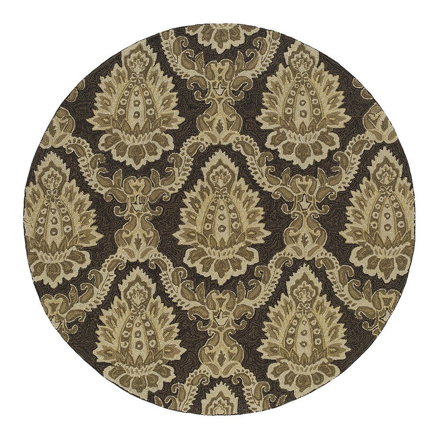 Shop Kaleen Round Brown Floral Indoor Outdoor Tufted Area Rug Common 6 Ft X