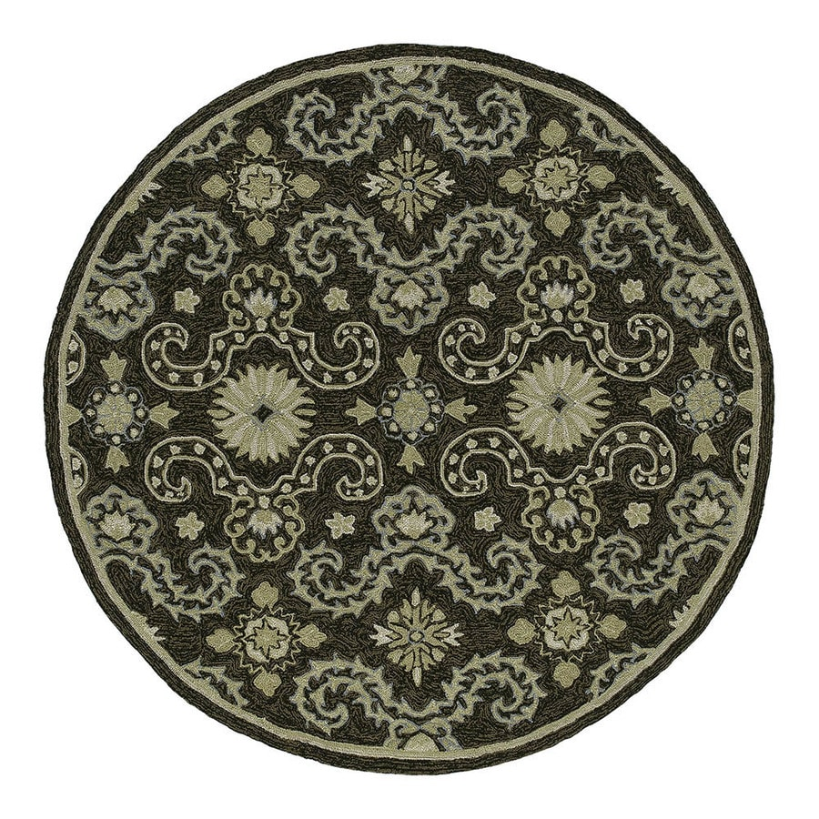 Kaleen Round Black Floral Indoor/Outdoor Tufted Area Rug (Common: 8-ft x 8-ft; Actual: 7.75-ft x 7.75-ft)