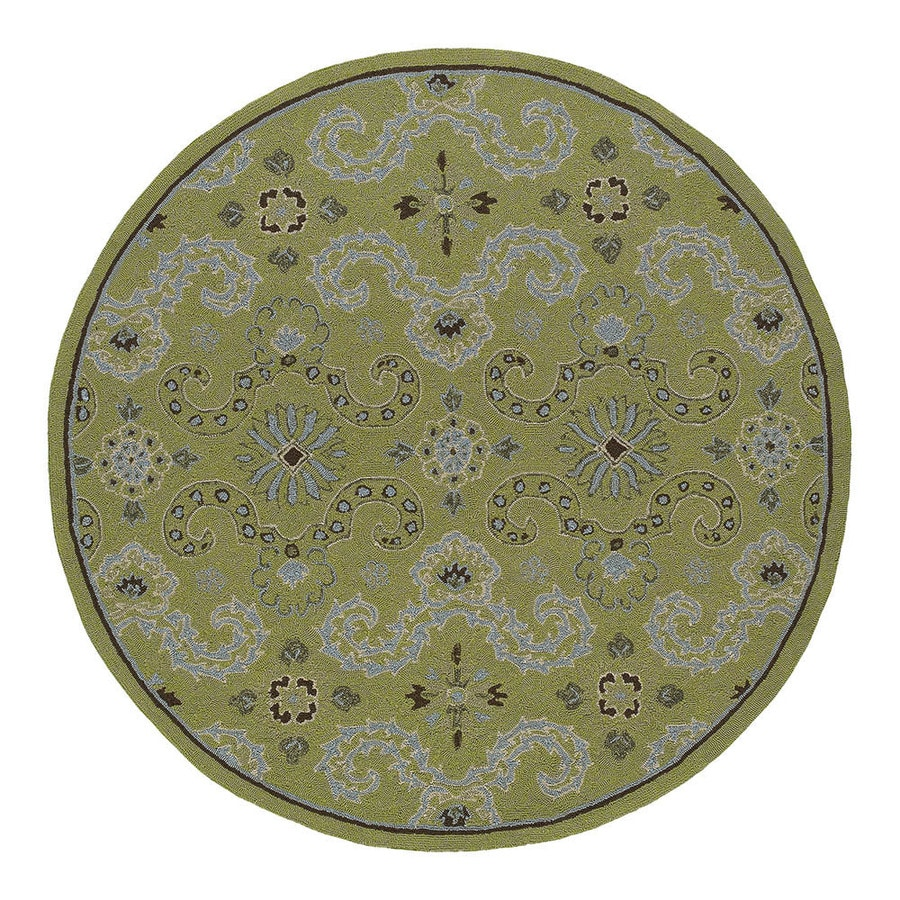 Kaleen Round Green Floral Indoor/Outdoor Tufted Area Rug (Common: 6-ft x 6-ft; Actual: 5.75-ft x 5.75-ft)