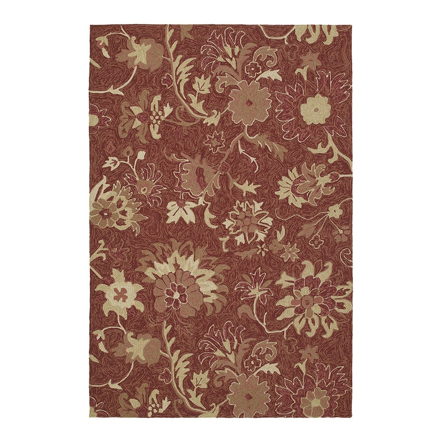 Kaleen Home and Porch 36-in x 60-in Rectangular Red Floral Accent Rug