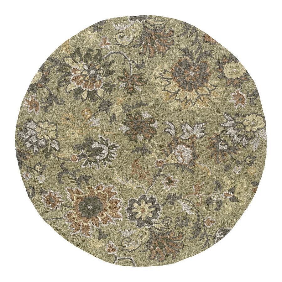 Kaleen 5-ft 9-in x 5-ft 9-in Round Green Floral Indoor/Outdoor Area Rug