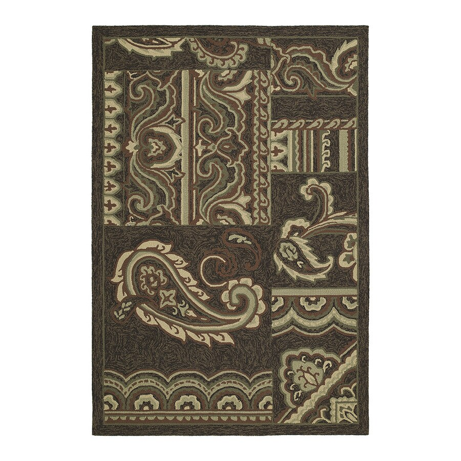 Kaleen Home and Porch 9-ft x 7-ft 6-in Rectangular Brown Floral Indoor/Outdoor Area Rug