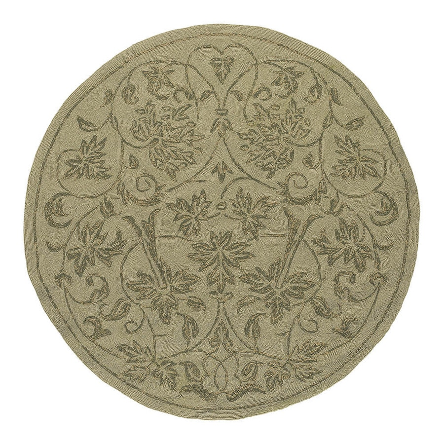 Shop Kaleen Round Cream Floral Indoor Outdoor Tufted Area Rug Common 6 Ft X