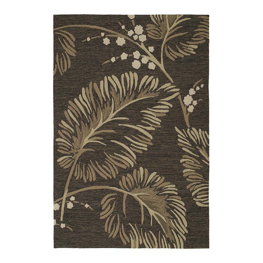 Kaleen Home and Porch Rectangular Brown Floral Indoor/Outdoor Tufted Area Rug (Common: 5-ft x 8-ft; Actual: 7.5-ft x 5-ft)