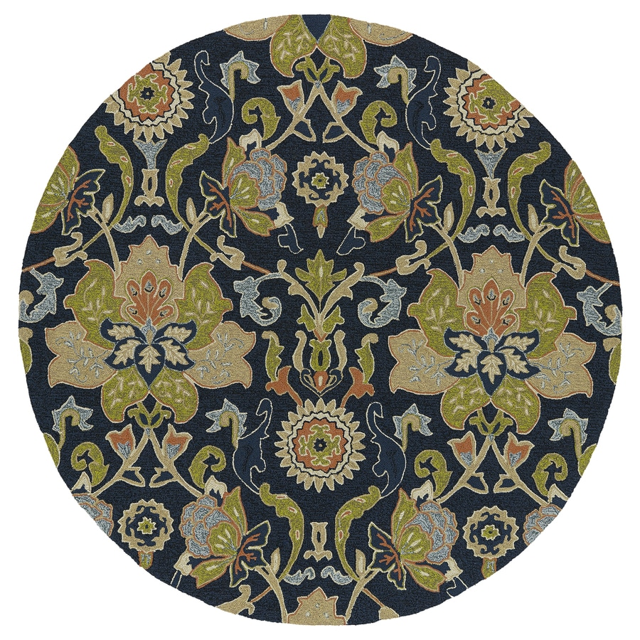 Shop Kaleen Home And Porch Navy Round Indoor And Outdoor Tufted Area Rug Com
