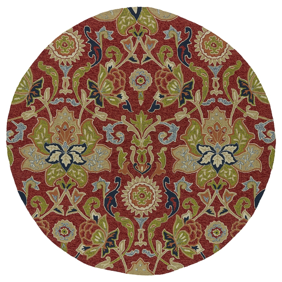 Kaleen Home and Porch Red Round Indoor and Outdoor Tufted Area Rug (Common: 6 x 6; Actual: 69-in W x 69-in L)