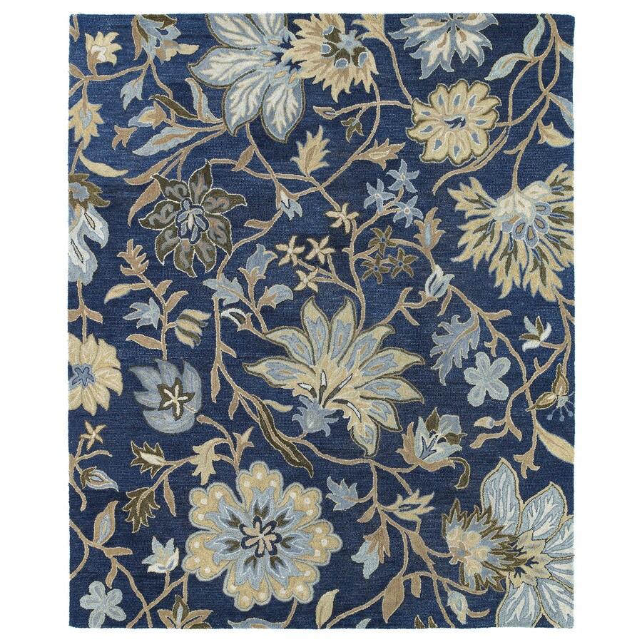 Kaleen Brooklyn Blue Rectangular Indoor Hand-Hooked Nature Area Rug (Common: 8 x 9; Actual: 90-in W x 108-in L)