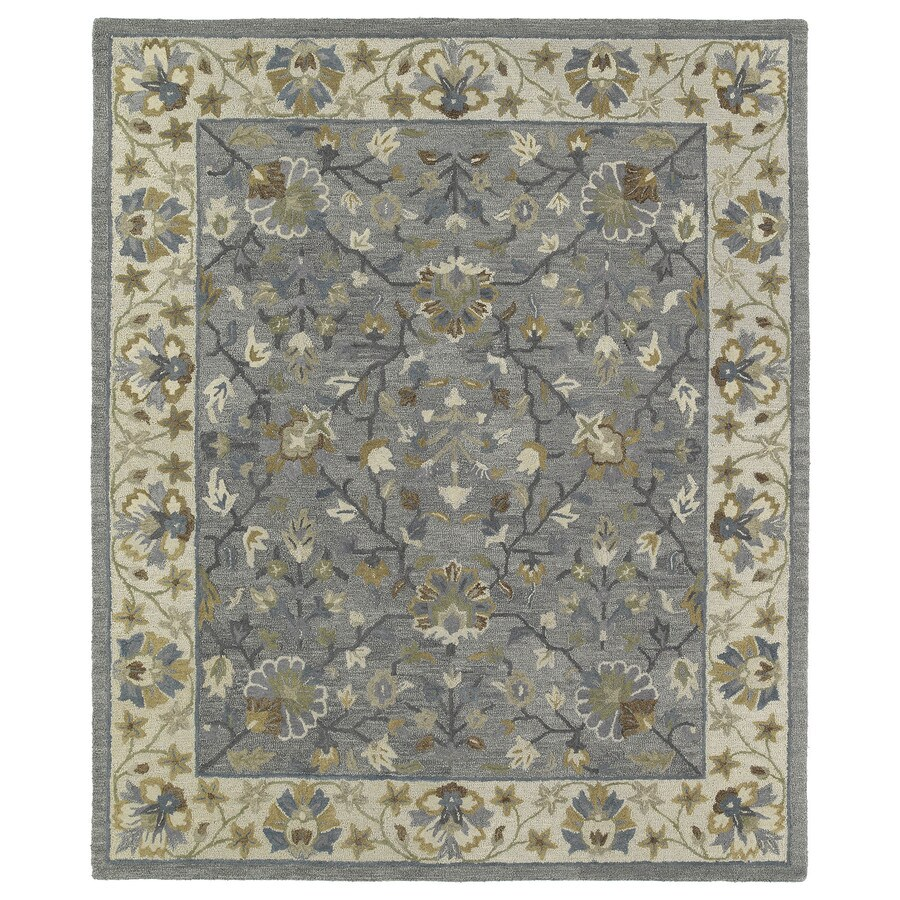 Kaleen Brooklyn Pewter Rectangular Indoor Hand-Hooked Oriental Area Rug (Common: 8 x 9; Actual: 90-in W x 108-in L)