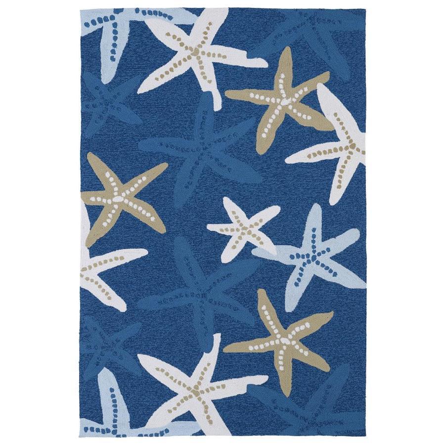 Kaleen Matira Blue Rectangular Indoor/Outdoor Tufted Coastal Throw Rug (Common: 3 x 5; Actual: 36-in W x 60-in L)