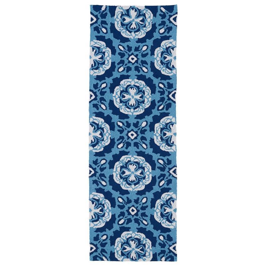 Kaleen Matira Blue Rectangular Indoor/Outdoor Tufted Coastal Runner (Common: 2 x 6; Actual: 24-in W x 72-in L)