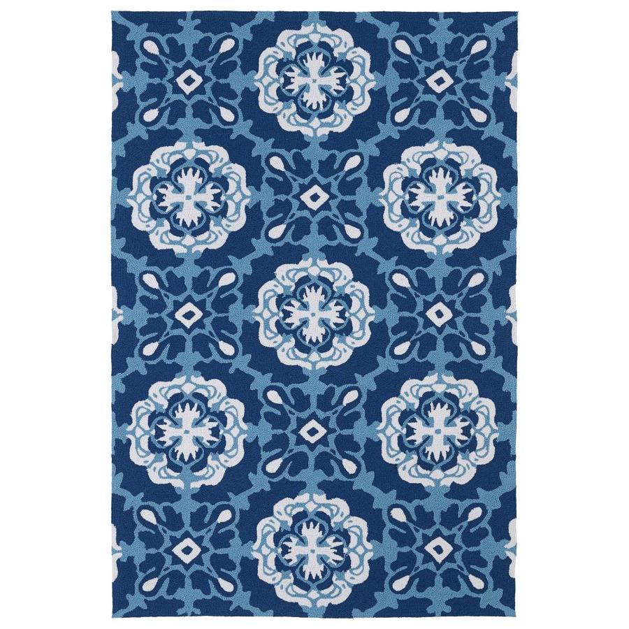 Kaleen Matira Blue Rectangular Indoor/Outdoor Tufted Coastal Area Rug (Common: 8 x 12; Actual: 102-in W x 138-in L)