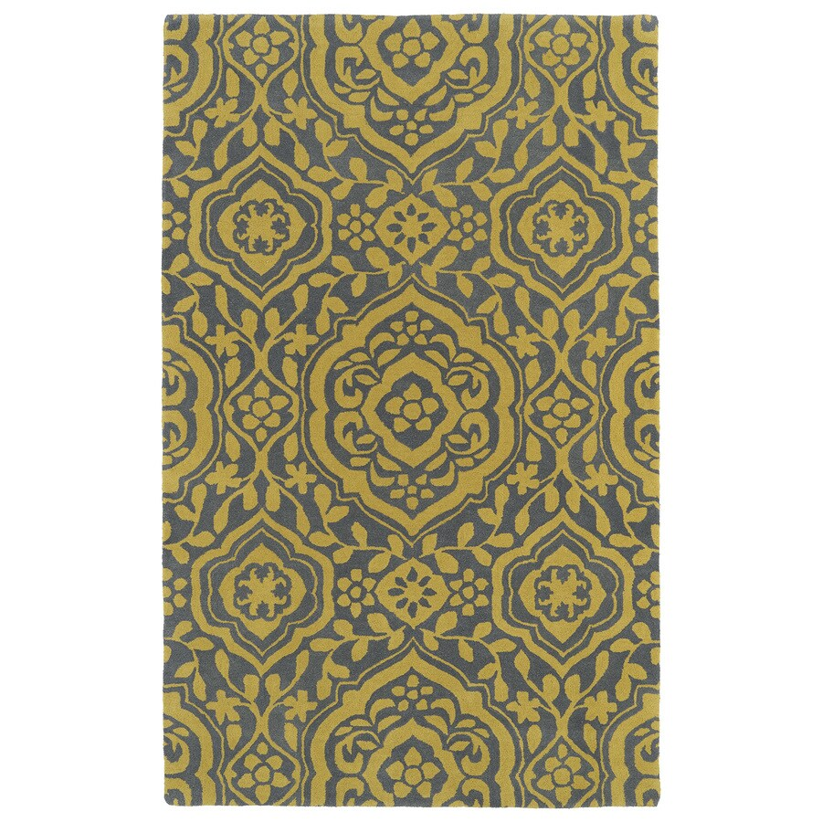 Kaleen Evolution Yellow Rectangular Indoor Tufted Novelty Area Rug (Common: 5 x 8; Actual: 60-in W x 93-in L)
