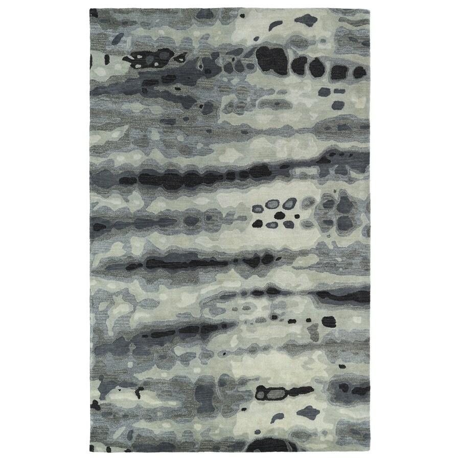 Kaleen Brushstrokes Grey Rectangular Indoor Tufted Distressed Area Rug (Common: 5 x 8; Actual: 60-in W x 93-in L)