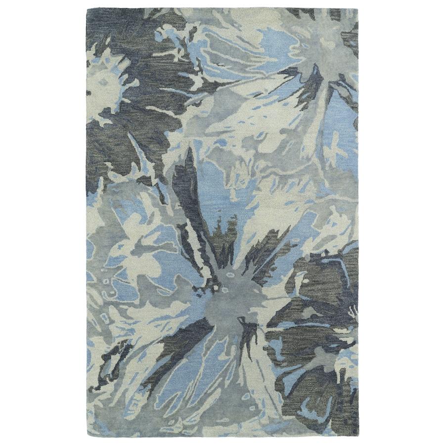 Kaleen Brushstrokes Grey Rectangular Indoor Tufted Distressed Area Rug (Common: 10 x 13; Actual: 114-in W x 156-in L)