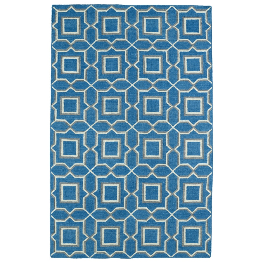 Kaleen Glam Teal Rectangular Indoor Woven Southwestern Area Rug (Common: 8 x 10; Actual: 96-in W x 120-in L)