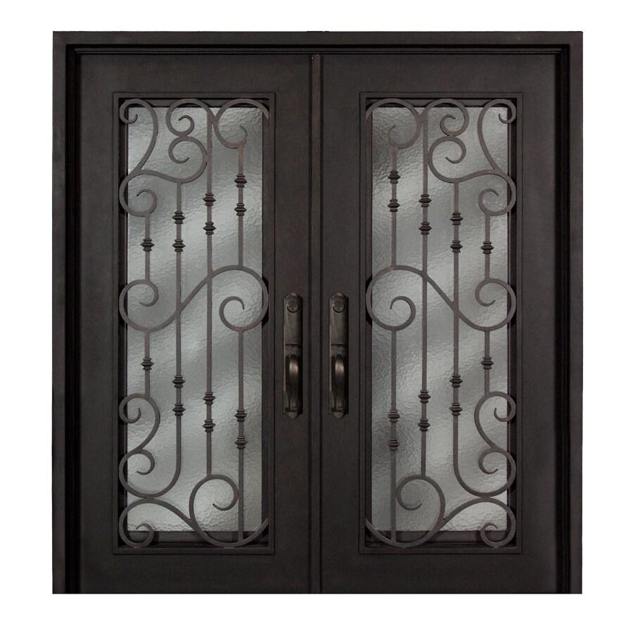 Escon 1-Panel Insulating Core Full Lite Left-Hand Inswing Bronze Iron Painted Prehung Entry Door (Common: 74-in x 81-in; Actual: 73.5-in x 81-in)