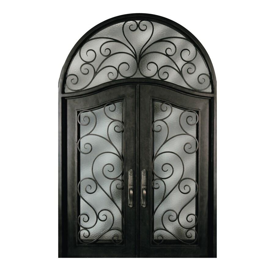 Escon 1-Panel Insulating Core Full Lite Left-Hand Inswing Bronze Iron Painted Prehung Entry Door (Common: 76-in x 120-in; Actual: 76-in x 120-in)