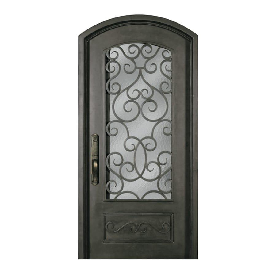 Escon 1-Panel Insulating Core 3/4 Lite Left-Hand Inswing Bronze Iron Painted Prehung Entry Door (Common: 40-in x 84-in; Actual: 40-in x 84-in)